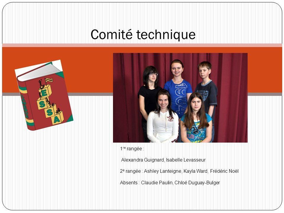 Comité technique 1re rangée : Alexandra Guignard, Isabelle Levasseur