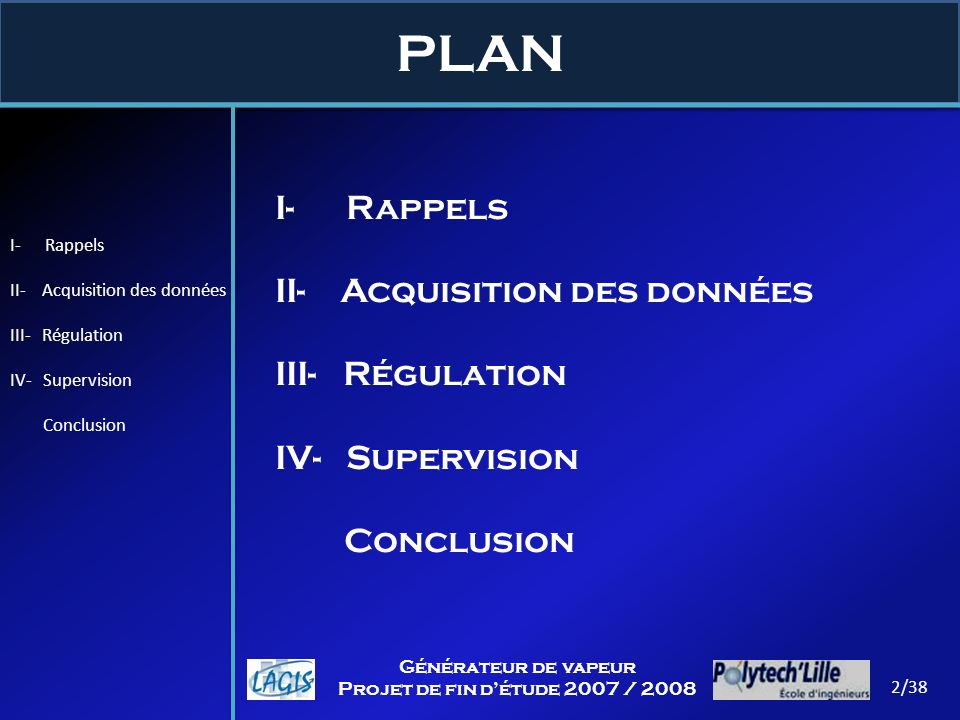 PLAN I- Rappels II- Acquisition des données III- Régulation