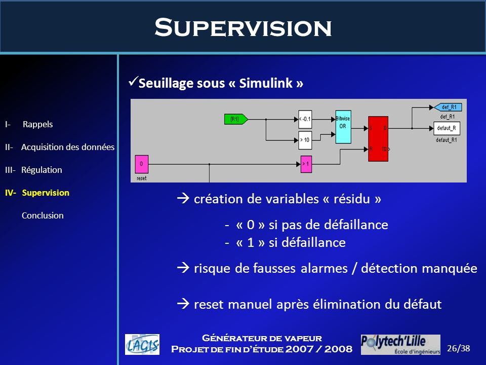 Supervision Seuillage sous « Simulink »