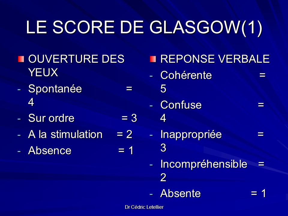 LE SCORE DE GLASGOW(1) OUVERTURE DES YEUX Spontanée = 4 Sur ordre = 3