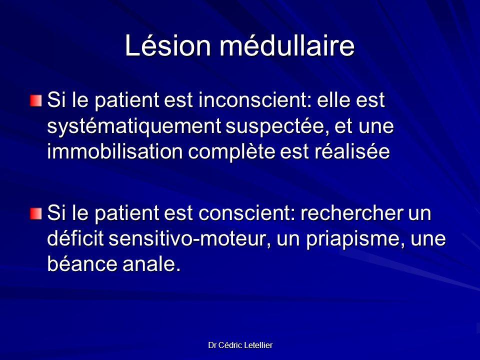 Lésion médullaire Si le patient est inconscient: elle est systématiquement suspectée, et une immobilisation complète est réalisée.