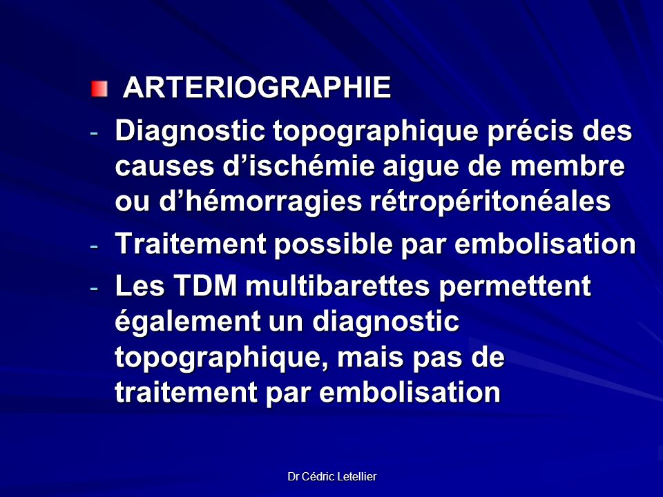 Traitement possible par embolisation