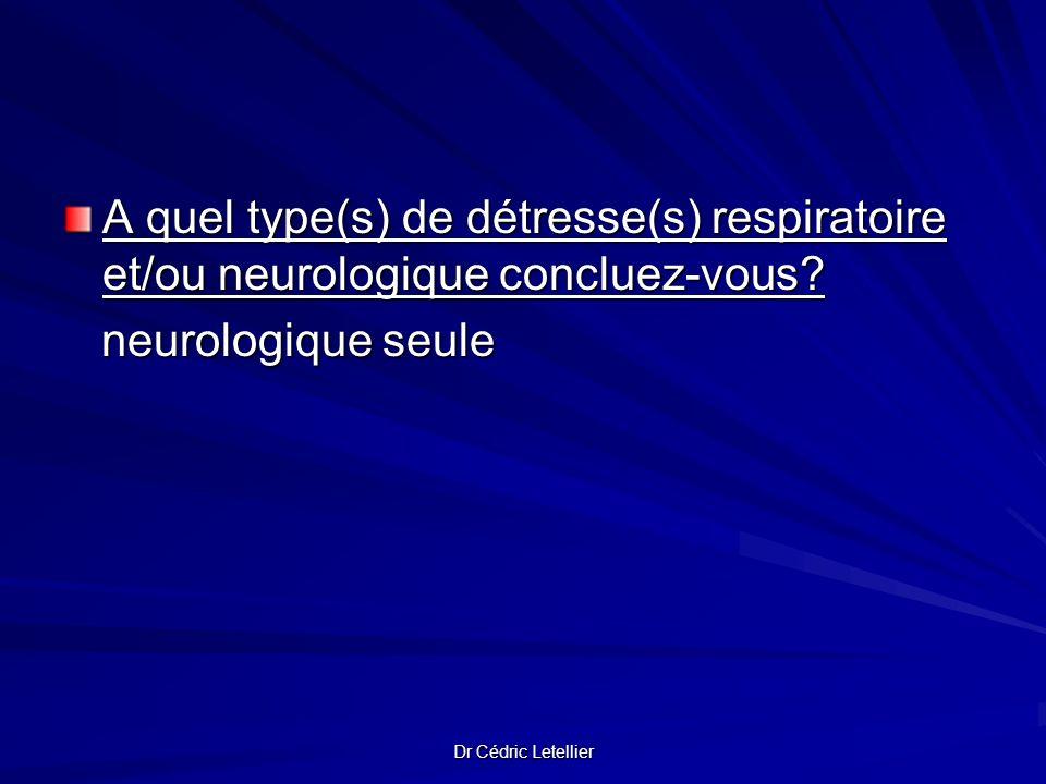 A quel type(s) de détresse(s) respiratoire et/ou neurologique concluez-vous