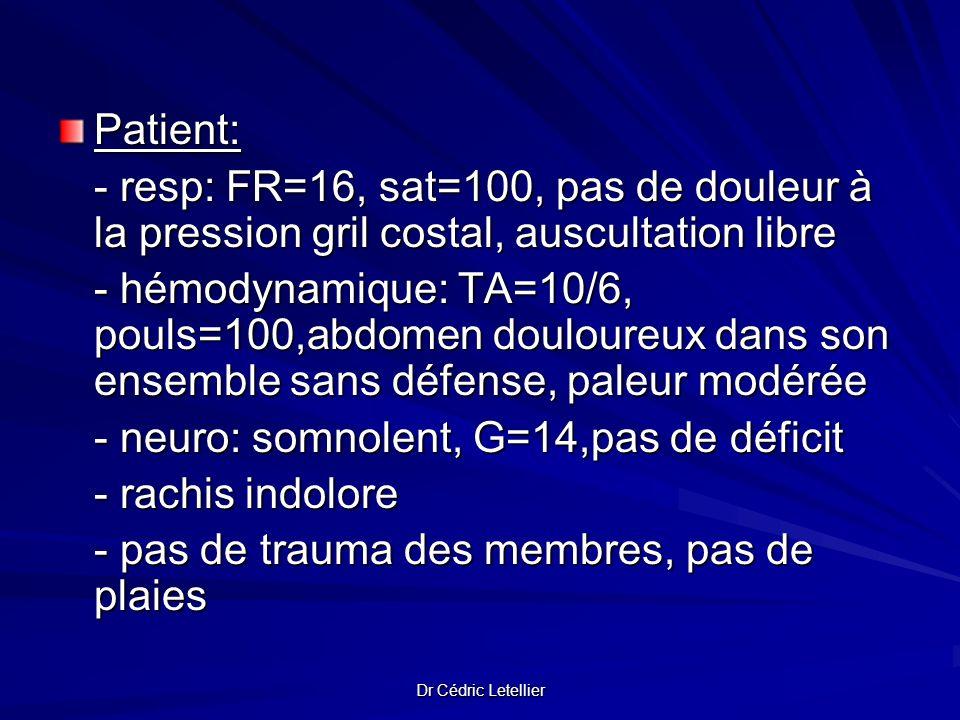 - neuro: somnolent, G=14,pas de déficit - rachis indolore