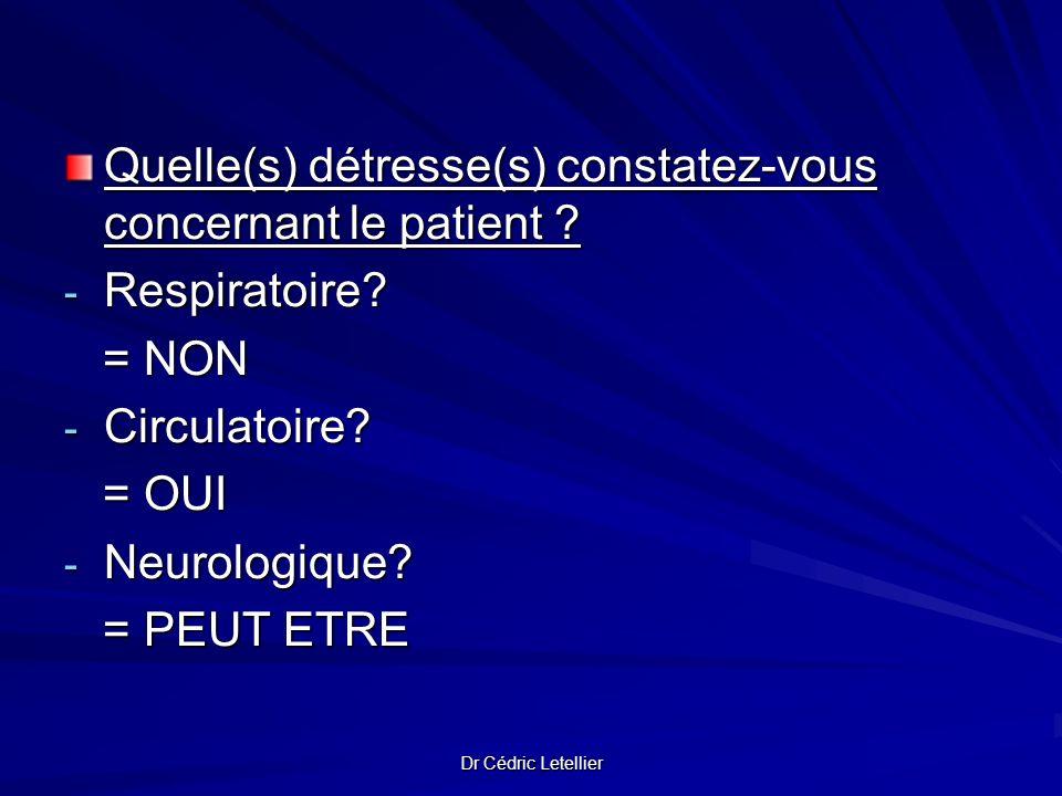 Quelle(s) détresse(s) constatez-vous concernant le patient