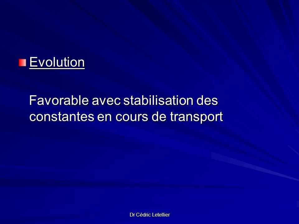 Favorable avec stabilisation des constantes en cours de transport