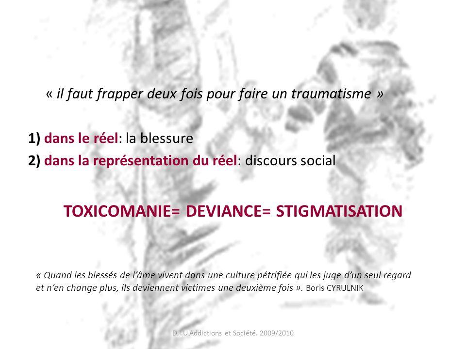 TOXICOMANIE= DEVIANCE= STIGMATISATION