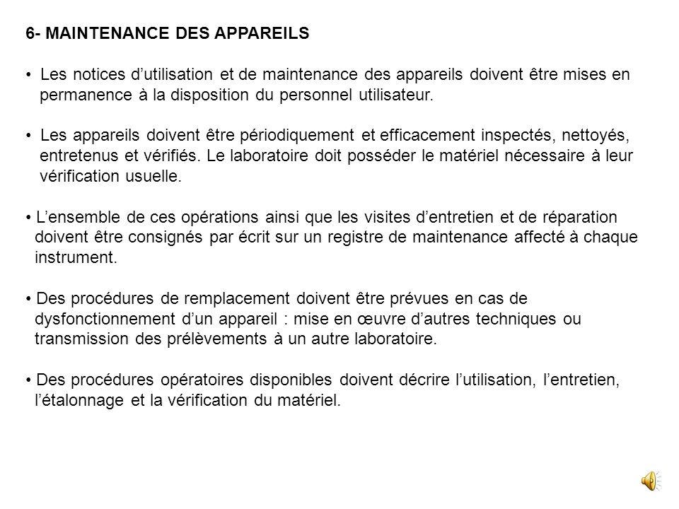 6- MAINTENANCE DES APPAREILS