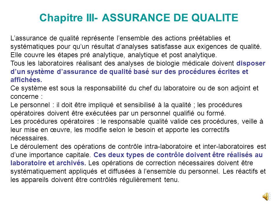 Chapitre III- ASSURANCE DE QUALITE