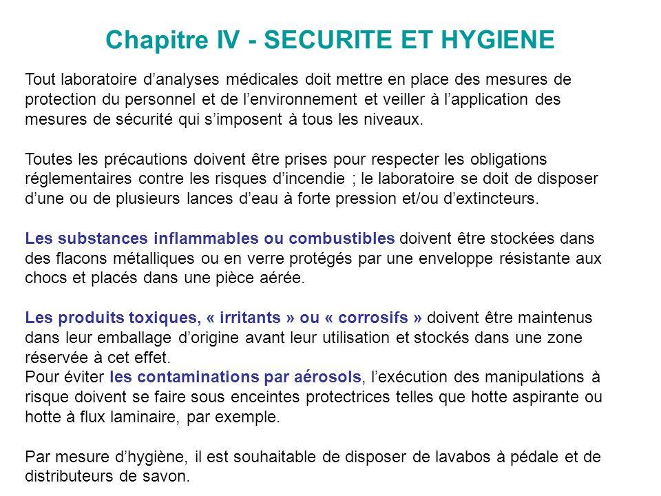 Chapitre IV - SECURITE ET HYGIENE