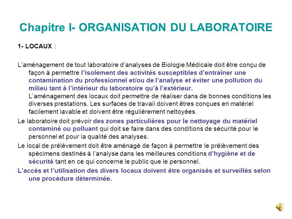 Chapitre I- ORGANISATION DU LABORATOIRE