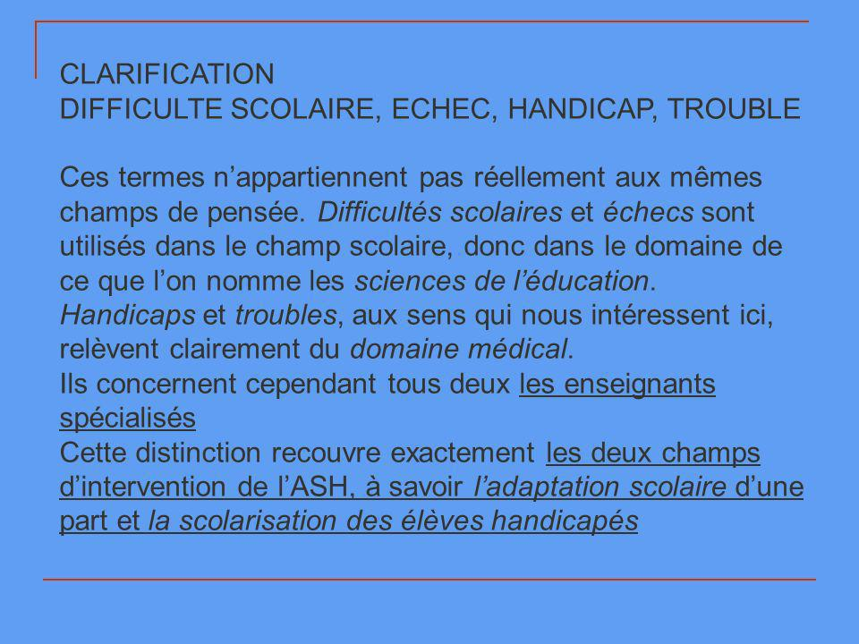 CLARIFICATION DIFFICULTE SCOLAIRE, ECHEC, HANDICAP, TROUBLE.