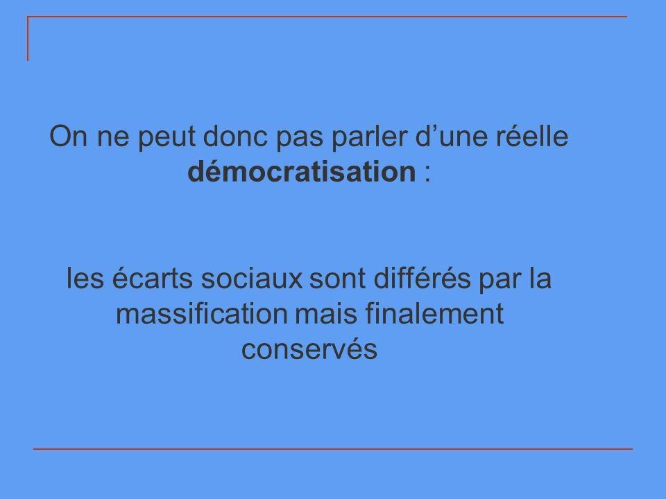 On ne peut donc pas parler d'une réelle démocratisation :