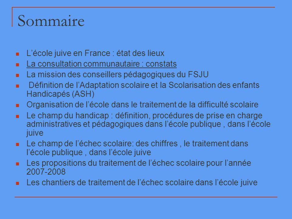 Sommaire L'école juive en France : état des lieux