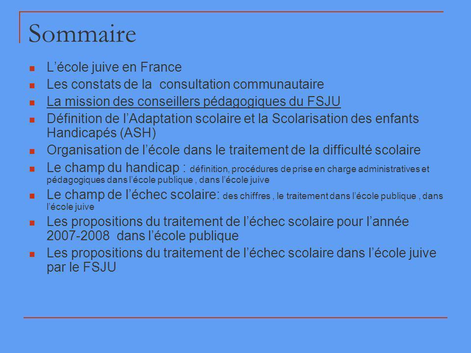 Sommaire L'école juive en France