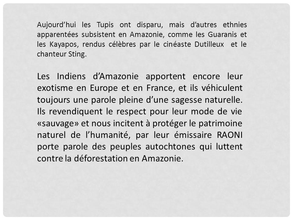 Aujourd'hui les Tupis ont disparu, mais d'autres ethnies apparentées subsistent en Amazonie, comme les Guaranis et les Kayapos, rendus célèbres par le cinéaste Dutilleux et le chanteur Sting.