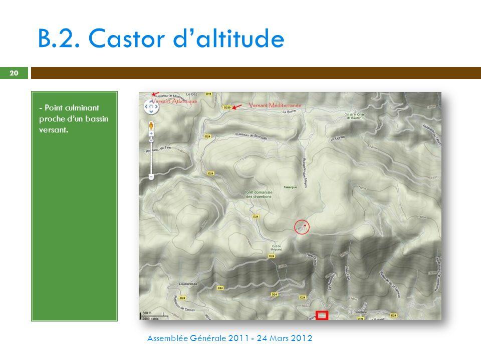 B.2. Castor d'altitude - Point culminant proche d'un bassin versant.