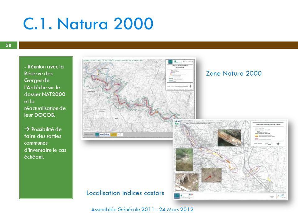 C.1. Natura 2000 Zone Natura 2000 Localisation indices castors