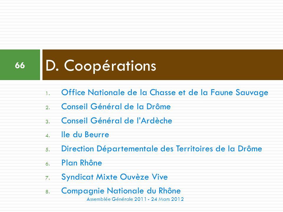 D. Coopérations Office Nationale de la Chasse et de la Faune Sauvage