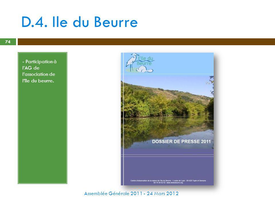 D.4. Ile du Beurre - Participation à l'AG de l'association de l'île du beurre.