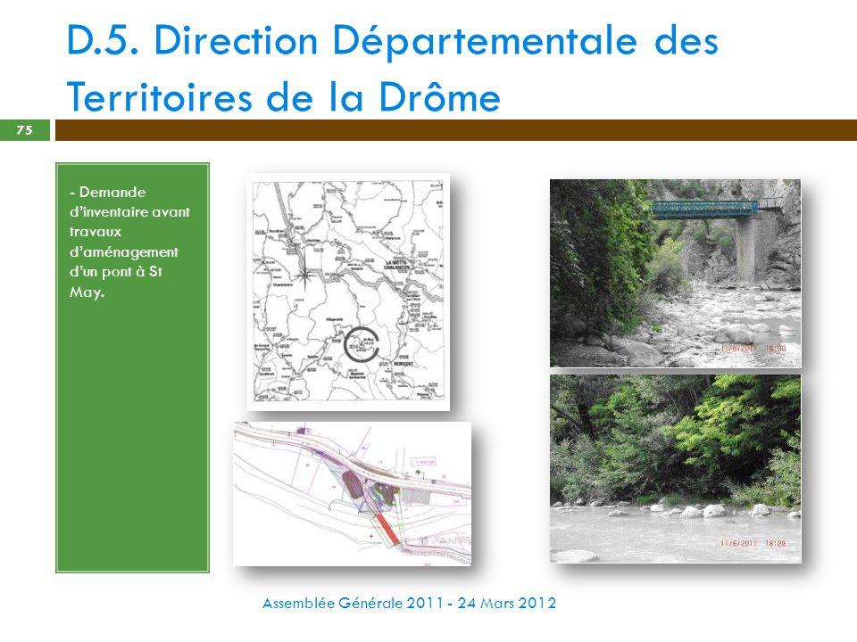 D.5. Direction Départementale des Territoires de la Drôme