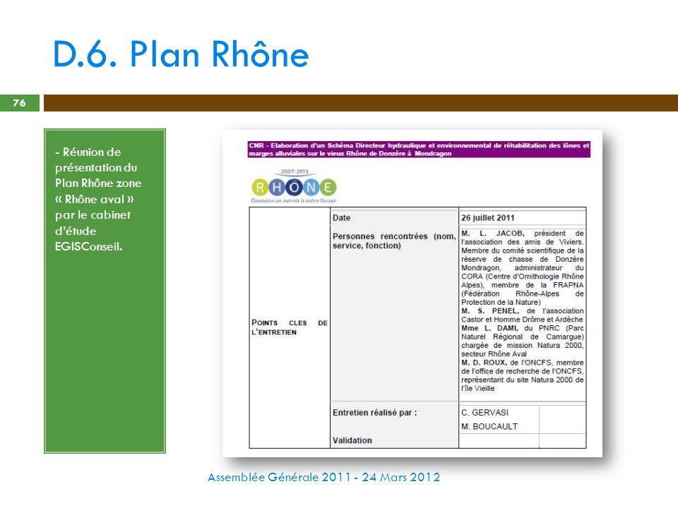 D.6. Plan Rhône - Réunion de présentation du Plan Rhône zone « Rhône aval » par le cabinet d'étude EGISConseil.