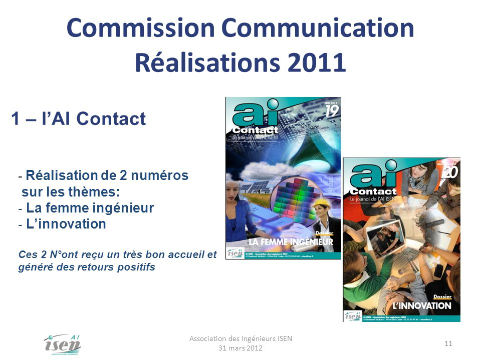 Commission Communication Réalisations 2011