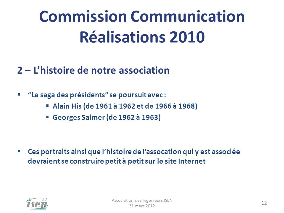 Commission Communication Réalisations 2010