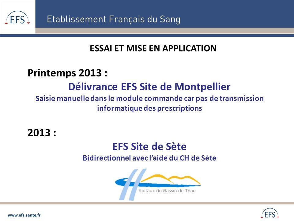 Délivrance EFS Site de Montpellier EFS Site de Sète