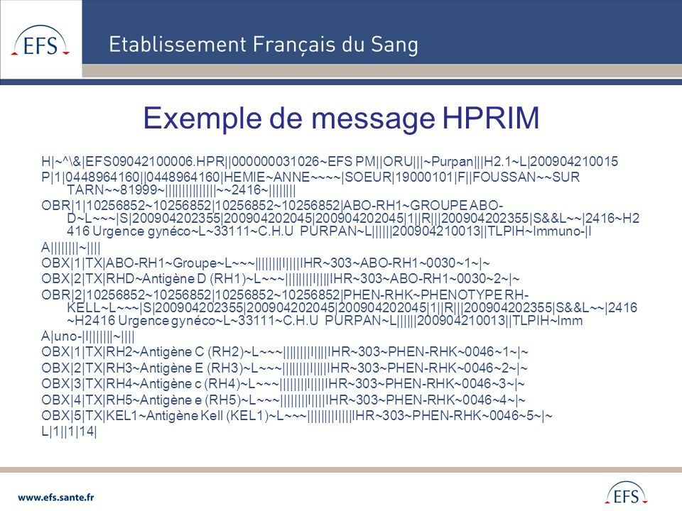 Exemple de message HPRIM