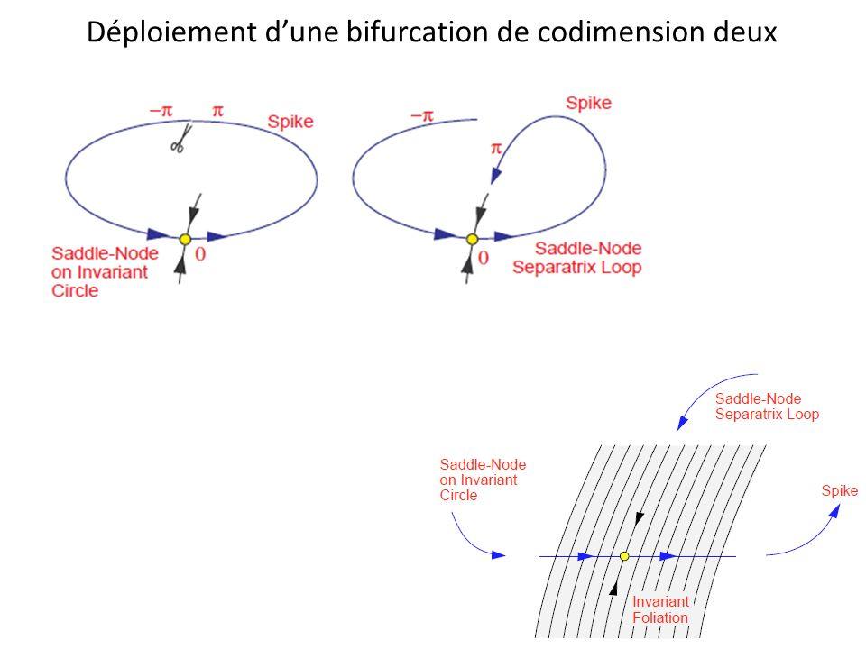 Déploiement d'une bifurcation de codimension deux