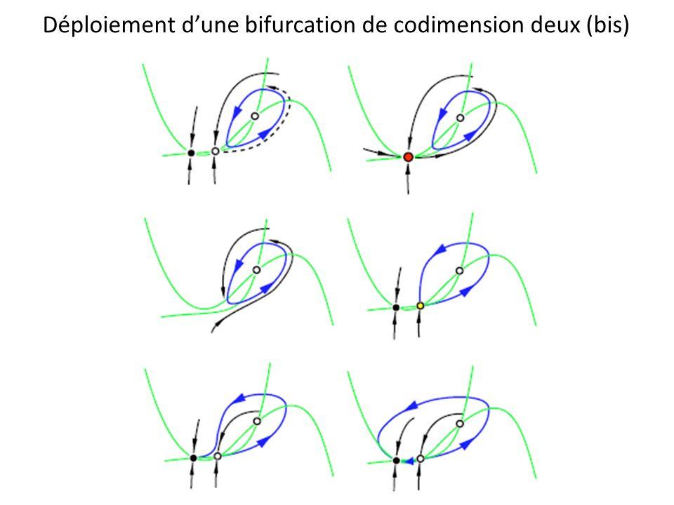 Déploiement d'une bifurcation de codimension deux (bis)