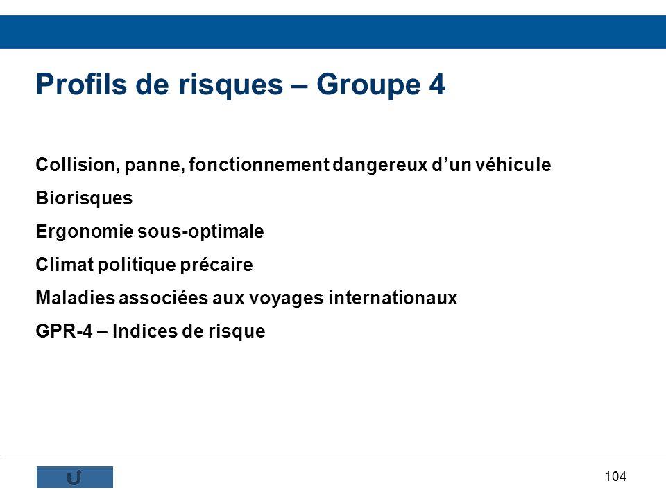Profils de risques – Groupe 4