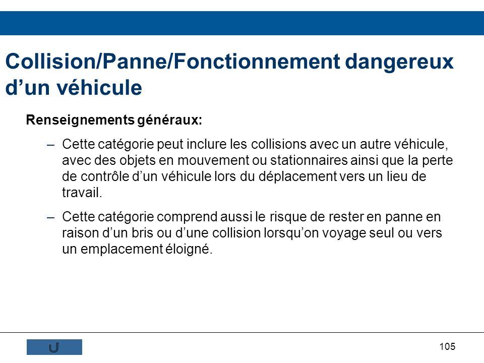 Collision/Panne/Fonctionnement dangereux d'un véhicule