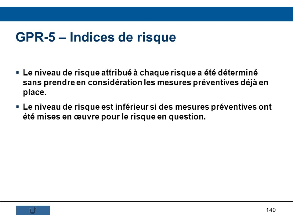GPR-5 – Indices de risque