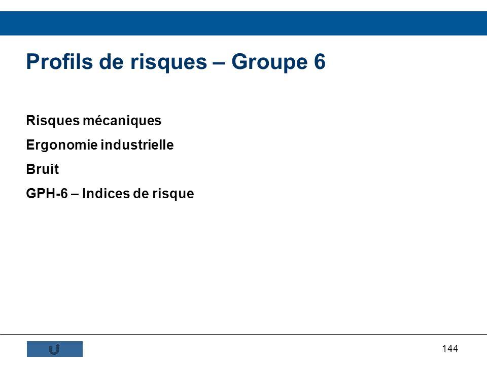 Profils de risques – Groupe 6