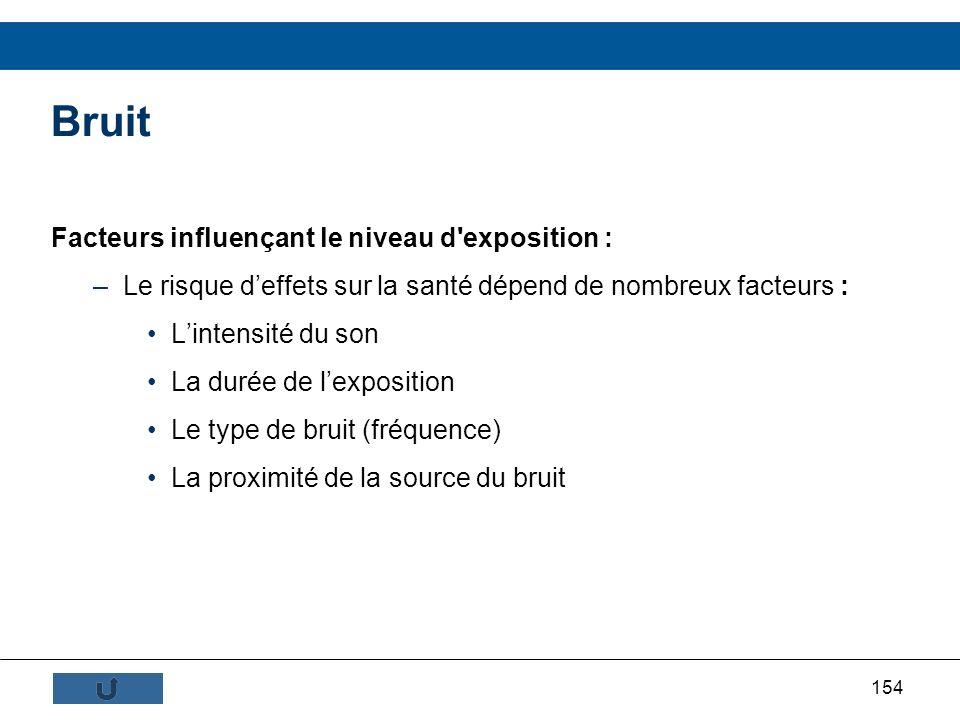 Bruit Facteurs influençant le niveau d exposition :