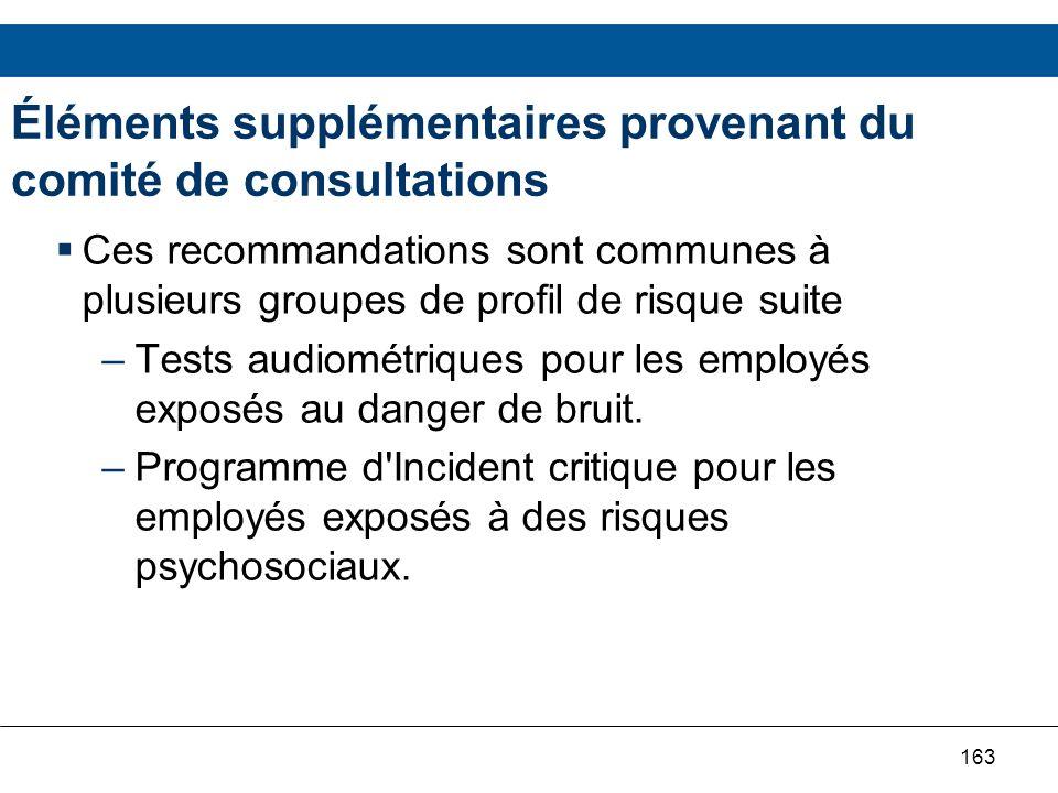 Éléments supplémentaires provenant du comité de consultations