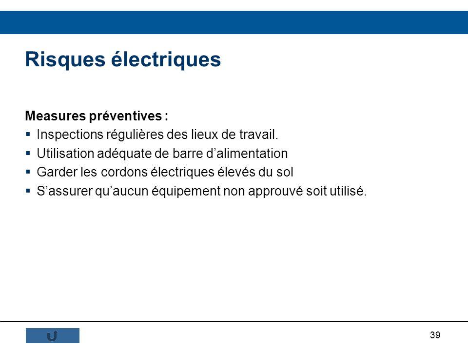 Risques électriques Measures préventives :