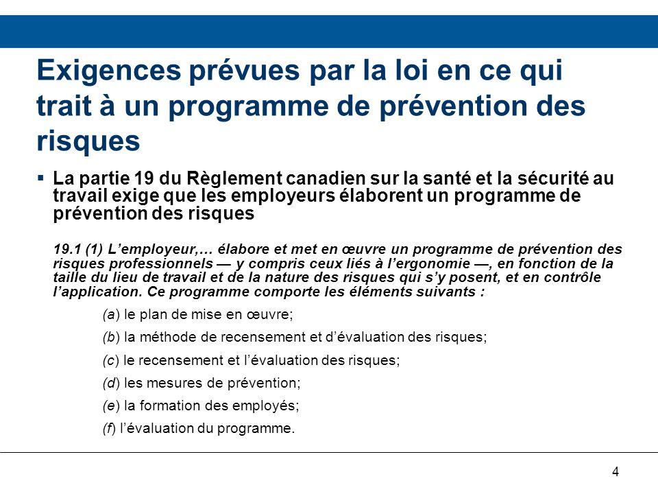 Exigences prévues par la loi en ce qui trait à un programme de prévention des risques