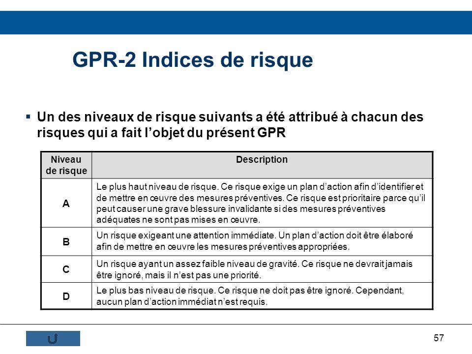 GPR-2 Indices de risque Un des niveaux de risque suivants a été attribué à chacun des risques qui a fait l'objet du présent GPR.