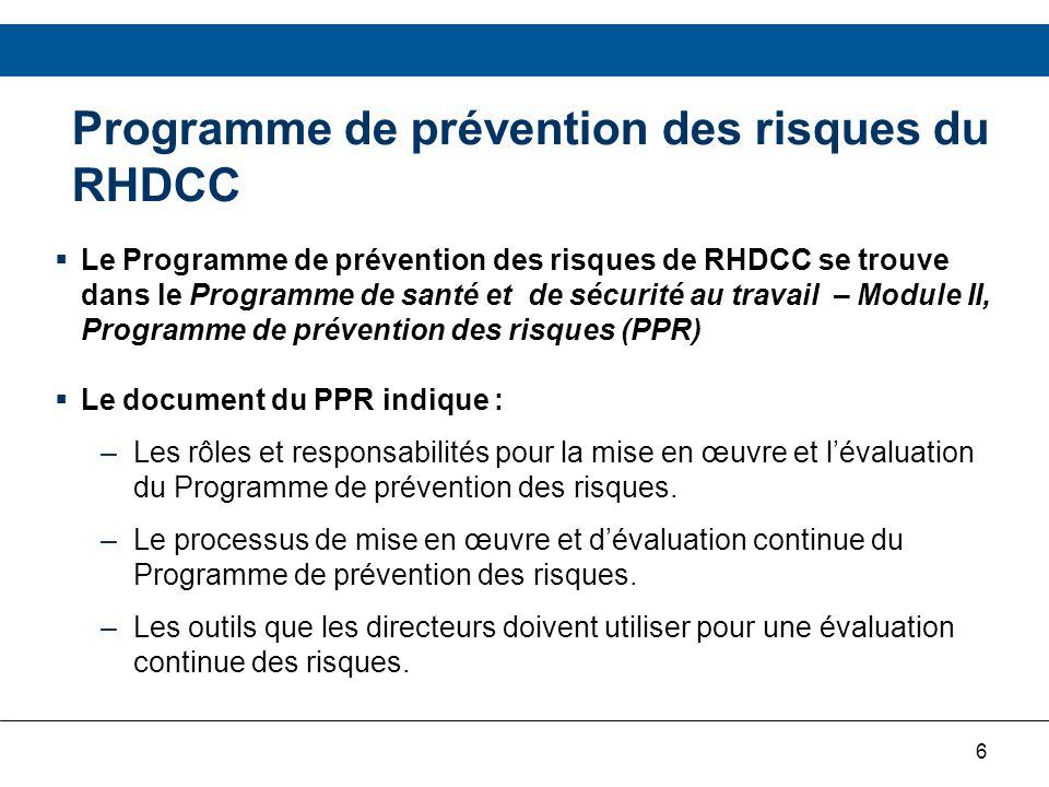 Programme de prévention des risques du RHDCC