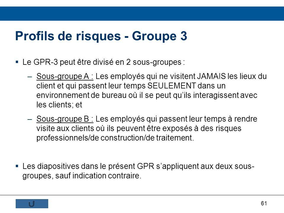 Profils de risques - Groupe 3