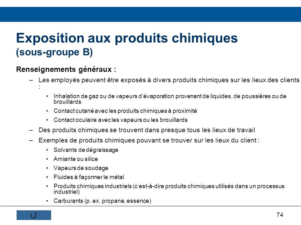 Exposition aux produits chimiques (sous-groupe B)