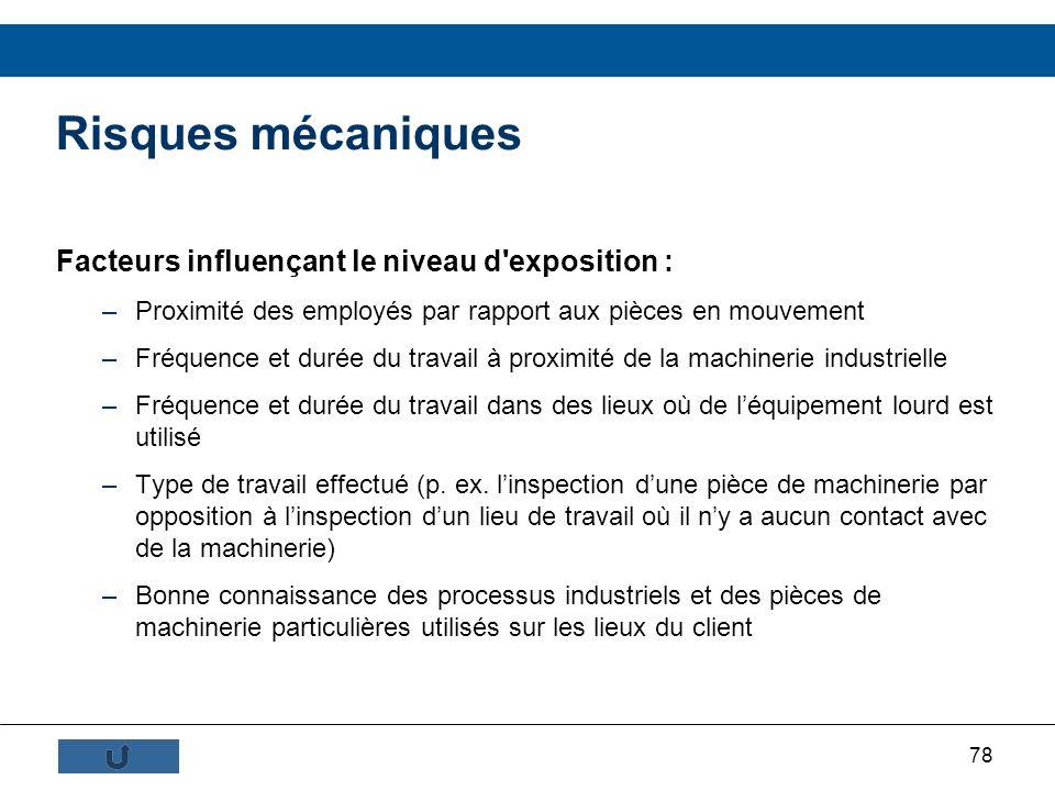 Risques mécaniques Facteurs influençant le niveau d exposition :