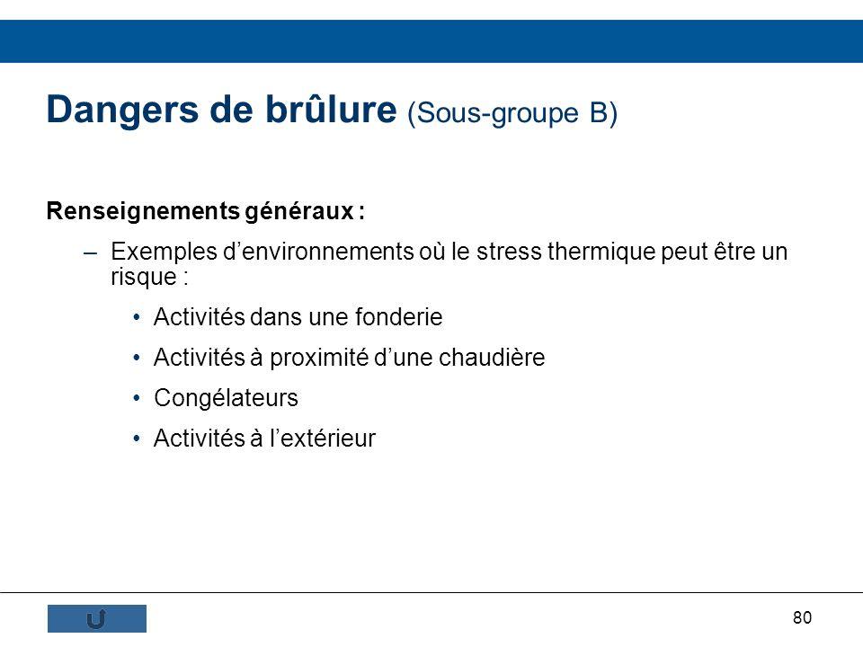Dangers de brûlure (Sous-groupe B)