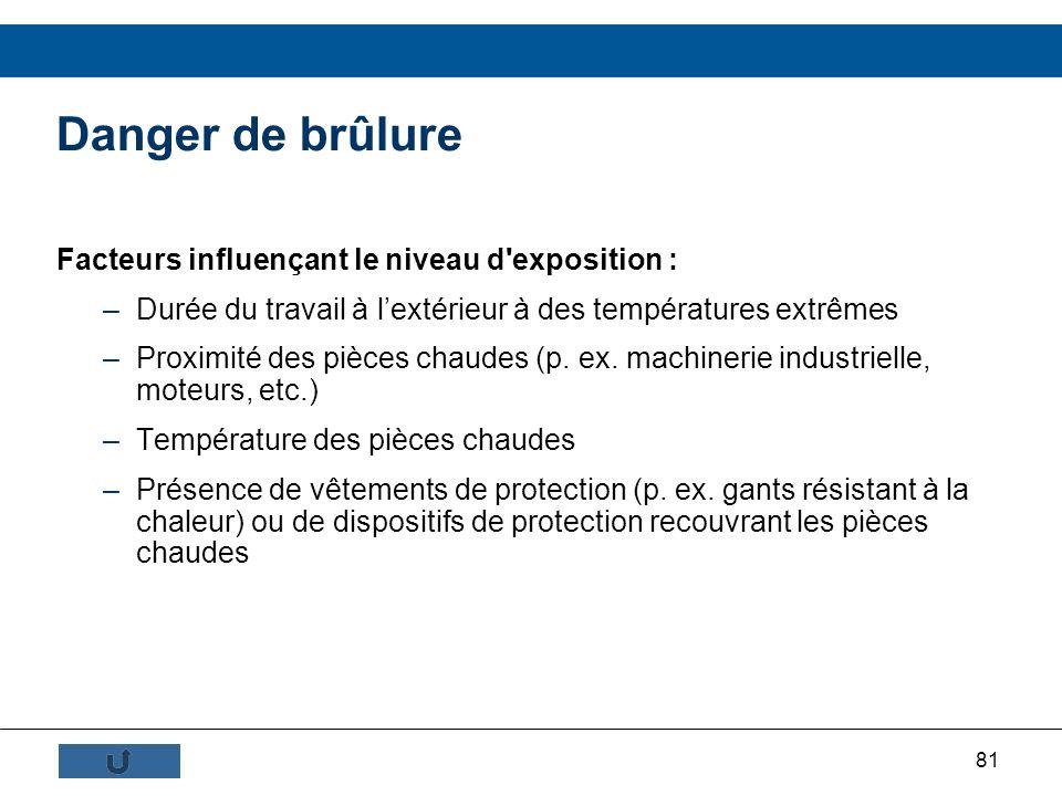 Danger de brûlure Facteurs influençant le niveau d exposition :