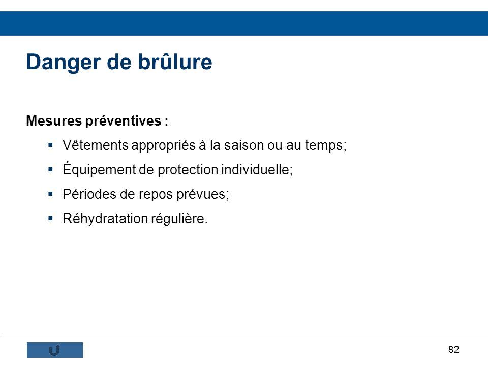 Danger de brûlure Mesures préventives :