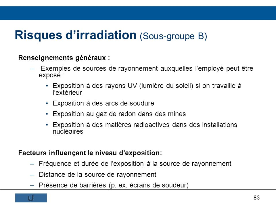 Risques d'irradiation (Sous-groupe B)