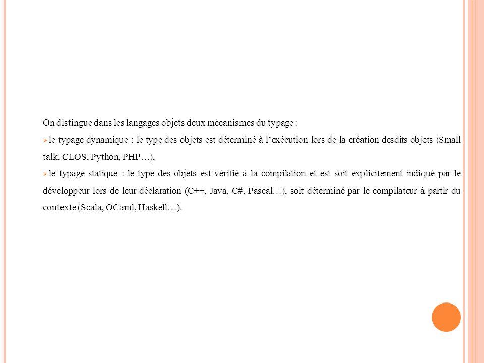 On distingue dans les langages objets deux mécanismes du typage :